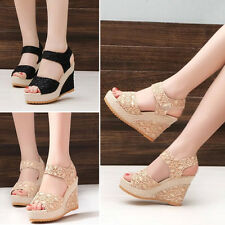 Women Summer High Heels Platform Wedge Ankle Strap Peep Toe Party Sandals Shoes