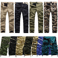 Mens Cotton Camo Combat Cargo ARMY Pants Military Camouflage Trousers Shorts