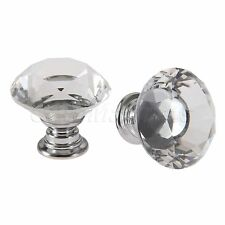 Diamond Shaped 30mm Crystal Glass Door Handle Drawer Cabinet Box Pull Knob Home