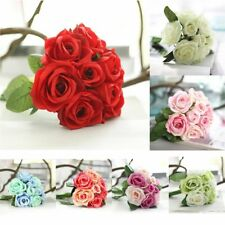New Artificial Fake Bridal Silk Bouquet Roses Wedding Flower Party Home Decor BS