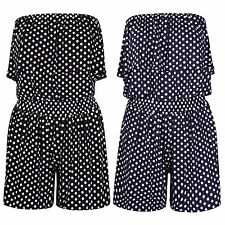 Womens Ladies Polka Dot Printed Bandeau Frill Shorts Playsuit Jumpsuit Wholesale
