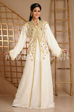 NEW Moroccan Cream  Georgette Kaftan GOLD Embroidery Dubai Abaya Maxi Dress 3614