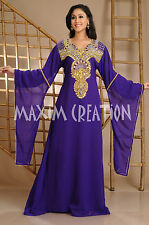 NEW Moroccan Purple Georgette Kaftan GOLD Embroidery Dubai Abaya Maxi Dress 3630
