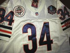 CHICAGO BEARS Throwback #34 WALTER PAYTON THROWBACK WHITE DUAL PATCH SEWN JERSEY