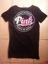"VICTORIAS SECRET PINK""PINK""""SNOOZE ON REPEAT SCOOPNECK SLEEP/CASUAL TEESHIRT NWT"