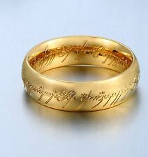 """Lord of the Rings """"The One Ring"""" Bilbo's Hobbit Ring Gold Ring Size 6 - 13"""