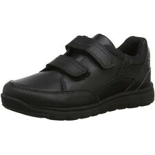 Geox J Xunday B Black Leather Youth School Shoes