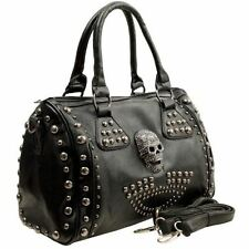 MG Collection Howea Gothic Studded Black Doctor Shoulder Bag with Skull Purse
