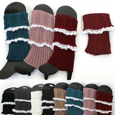 Women Crochet Lace Knit Boot toppers Leg or Arm Warmers Cuffs Knee High LEGGING