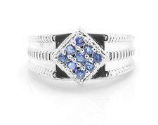 925 Sterling Silver Ring with Natural Blue Sapphire Round Cut Gemstone Handmade.
