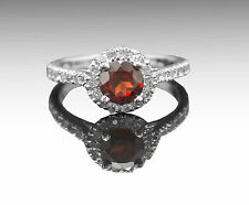 925 Sterling Silver Ring with Round Cut Garnet Gemstone Handmade eBay.
