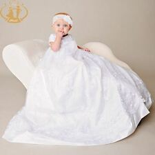 Nimble White Children Girl Baby Baptism Gown Lace Newborn Dress