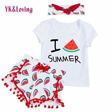 Baby Girl Clothes Sets Summer Outfits Hairand 3Pcs Short Sleeve Swing Top Shorts
