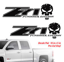 Chevy Z71 Punisher 4X4 off road truck Silverado Chevrolet Decal Pair 2 Decals HQ