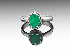 925 Sterling Silver Ring with Oval Cut Green Emerald Natural Gemstone Handmade.