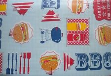 New Summer Fun Vinyl Table cloth BBQ Barbecue Theme Oblong Rectangle & Round