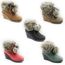 WOMENS LADIES WINTER MID WEDGE HEEL POM POM FUR LINED ANKLE BOOTS SHOES SIZE 3-8