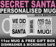 New SECRET SANTA - Any Name Personalised Christmas Present Mug - Free Gift Box