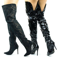 Dedicate13 Thigh High / Over The Knee High Heel Dress Boot In Solid Or Lace