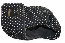 FEMALE DOG SEASON PANTS / NAPPY / HEAT / URINE INCONTINENCE DIAPER - Dotty Black