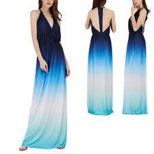 Women Gradient Color Halter V Neck Long Maxi Dress Sexy Evening Party Cocktail