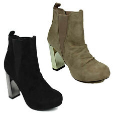 WOMENS LADIES CASUAL HIGH BLOCK HEEL CHELSEA STYLE ANKLE BOOTS SHOES SIZE 3-8