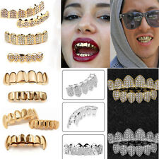 Hot Custom 14K Gold Plated Hip Hop Teeth Grillz Mouth Top / Bottom Teeth Grills