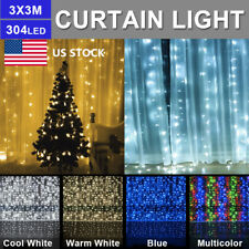 US LED Curtain Icicle Wave Waterfall String Lights Lamp Wedding Party Outdoor