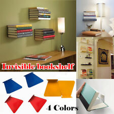 1Pair Conceal Invisible Bookshelf Wall Mounted Floating Book Shelf Storage UK