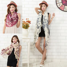 Women Soft Funky Long Neck Butterfly Print fashion Voile Wrap Shawl Scarf