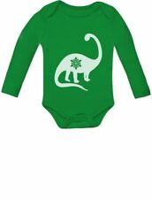 Christmas Dinosaur - Snowflake New Years Dino Cute Baby Long Sleeve Bodysuit