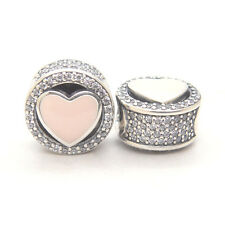 Authentic Genuine S925 Sterling Silver Wonderful Love Heart w/CZ & Pink Charm