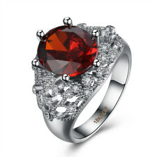 Women 18K White Gold Plated Ruby Crystals Engagement Ring Wedding Jewelry