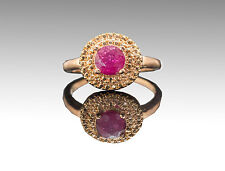 925 Sterling Silver Ring with Round Cut Red Ruby Natural Gemstone Handmade.