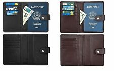 Genuine Leather Passport Holder Wallet Card Organizer Travel Case RFID Blocking