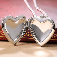 Women Jewelry 925 Silver Heart Locket Pendant Chain Chocker Necklace 24inches