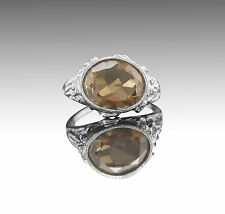 925 Sterling Silver Ring with Natural Oval Cut Smoky Topaz Gemstone Handcrafted.