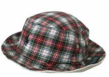 Red/Green Tartan Check/Plaid to White POLO Ralph Lauren Reversible Bucket Hat