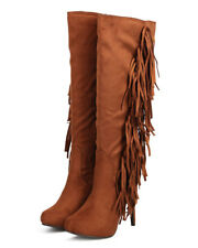 New Women Breckelles Philly-11 Knee High Suede Fringe Single Sole Stiletto Boot