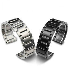 Black/Silver Brushed Stainless Steel Solid Link Watch Band Strap Bracelet