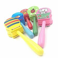 Lovely Kids Baby Wooden Castanet Clapper Musical Instrument Toy Educational BS