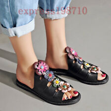 Gladiator Womens Leather Flip Flops Floral Slipper Beads Flat Sandals Shoes New