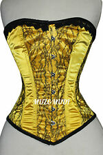 Yellow Satin Real Steel Bones Lace up Back Front Busk Full Bust Corset 2XS~7XL