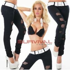 Womens Destroyed Jeans Skinny Ripped Designer Sexy Black Low Rise Hipster Pants