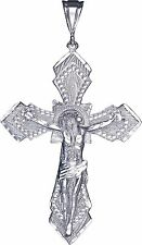 Large Heavy Sterling Silver Cross with Jesus Pendant Necklace 16 Gram 3.5 Inches