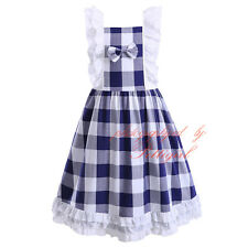 Girls Gingham Ruffle Dress Child Kids Costume Summer Party Cotton Check Dresses