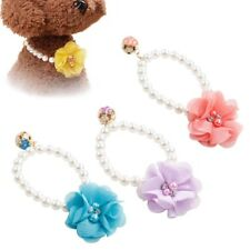 Dog Pet Pearls Necklace Collar Charm Elastic Flower Pet Puppy Jewelry Collar