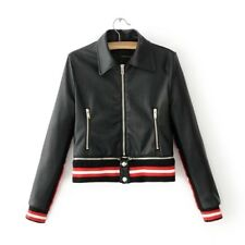 New Womens Ladies Sexy Black Faux Leather Bomber Motorcycle Jacket Coat SML
