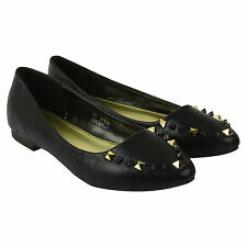 NEW WOMENS LADIES FLAT STUDDED SLIPPERS LOAFERS SLIP ON PUMPS SHOES SIZE 3-8