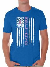 Breast Cancer T shirts Shirts Tops  Believe Flag Men's Pink Ribbon